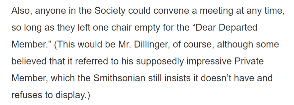 Masonic tradition in the John Dillinger Society